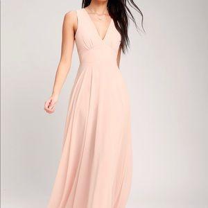 Lulus Pink love Blush Sleeveless maxi dress